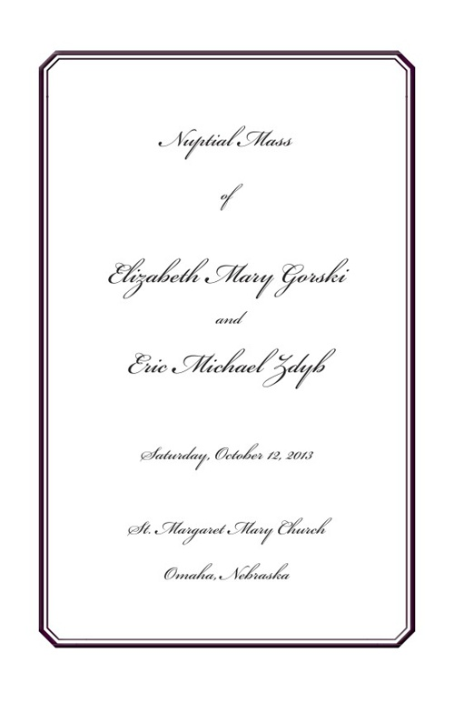 Elizabeth Wedding Program