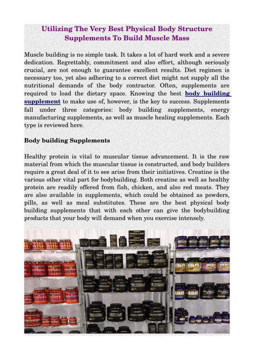Utilizing The Very Best Physical Body Structure Supplements To B