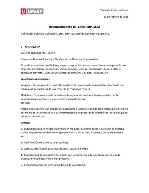 Herramientas CRM, ERP, SCM