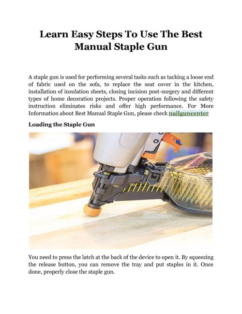 Learn Easy Steps To Use The Best Manual Staple Gun