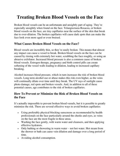 Treating Broken Blood Vessels on the Face