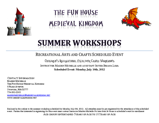 Summer Workshop Monday  July 16th 2012