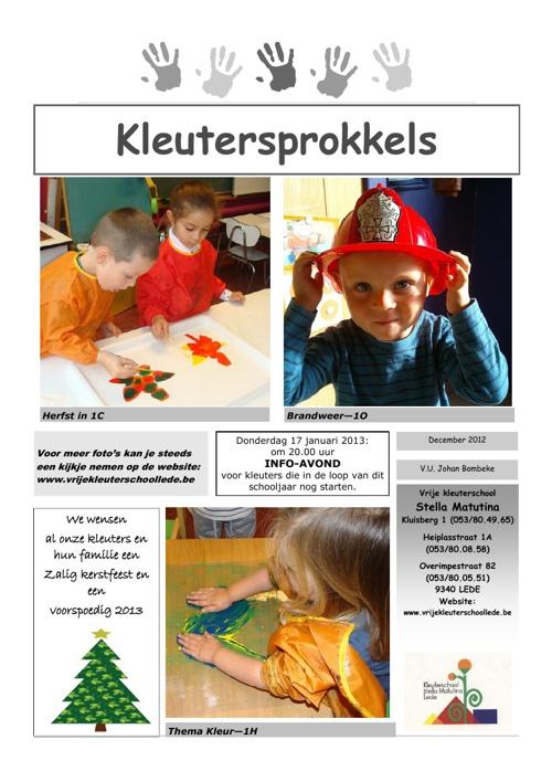 KLEUTERSPROKKELS DEC. 2012