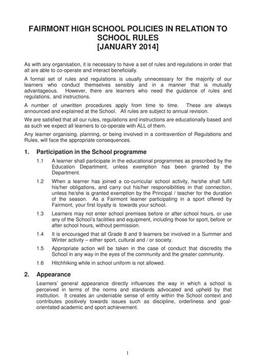 2014 School Rules