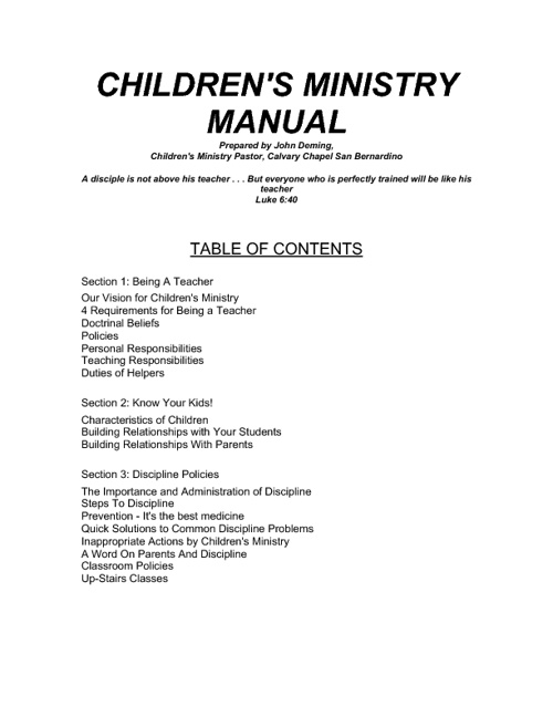 Children's Ministry Manual (by John Deming)