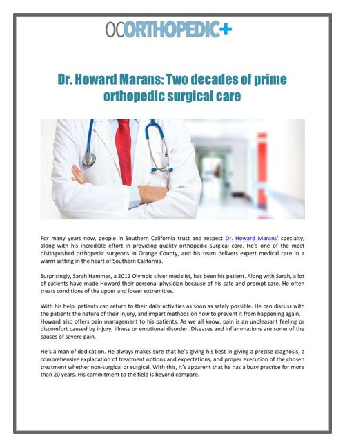 Dr. Howard Marans: Two decades of prime orthopedic surgical care