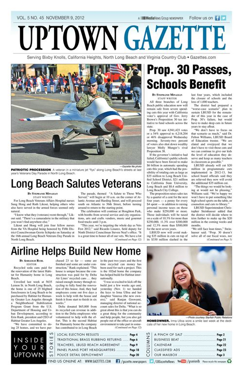 Uptown Gazette  |  November 9, 2012