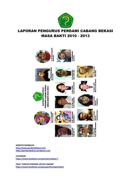 LAPORAN PENGURUS PERDAMI CABANG BEKASI MASA BAKTI 2010-2013