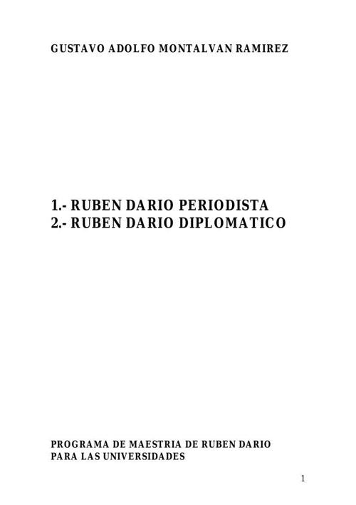 RUBEN DARIO - PERIODISTA Y DIPLOMATICO