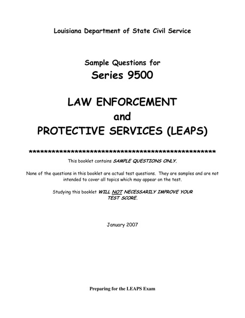 Sample Questions for Series 9500 LAW ENFORCEMENT PROTECTIVE