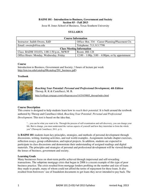 BADM 101 (03) Syllabus