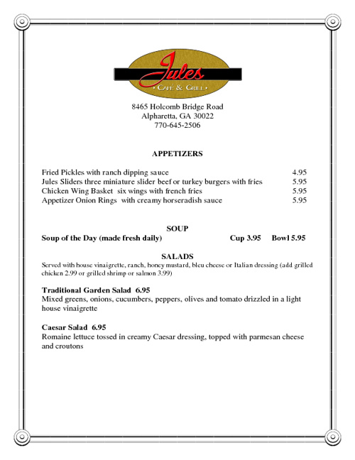 Jules Cafe Menu