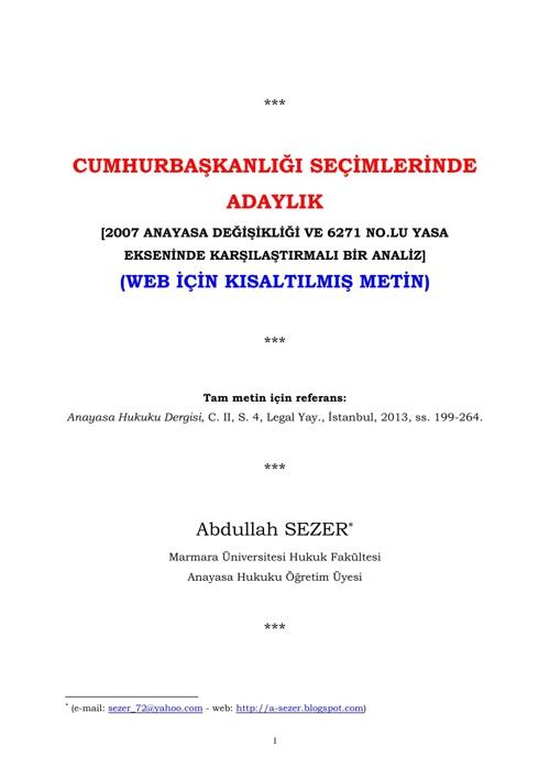 A. SEZER - CB Seçimlerinde Adaylık [Kısa metin]