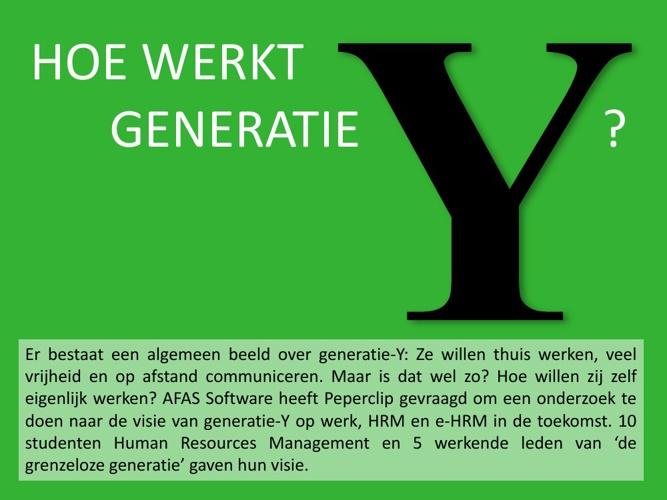 Hoe werkt generatie Y?