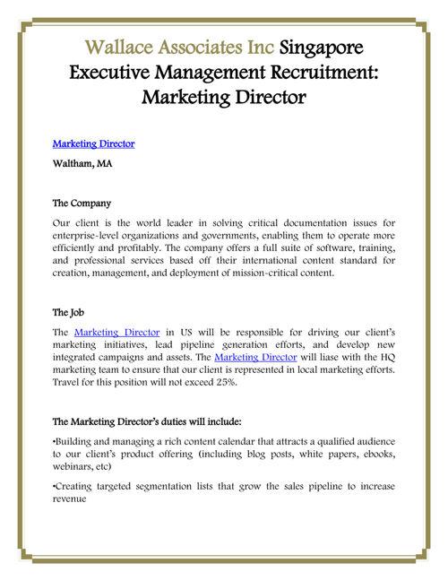Wallace Associates Inc: Marketing Director
