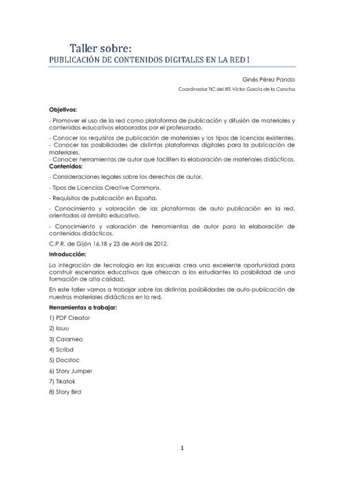 Taller de publicación 1 - 2012