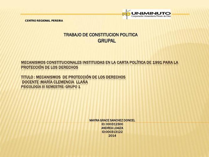 MECANISMOS  DE PROTECCIÓN DE LOS DERECHOS