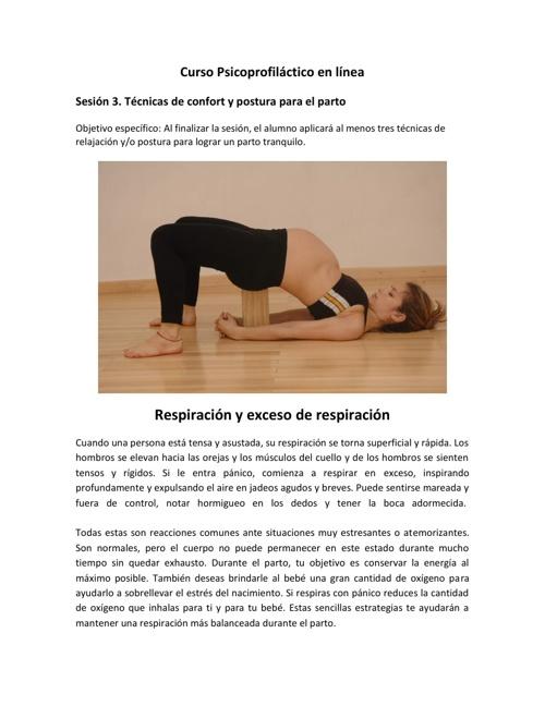 Técnicas de confort y posturas para el parto