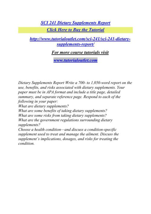 SCI 241 Dietary Supplements Report