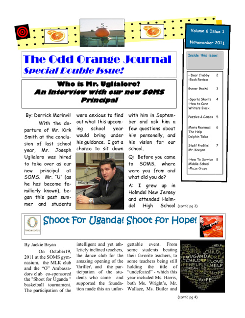 South Orange Middle School Newspaper: Odd  Orange Journal