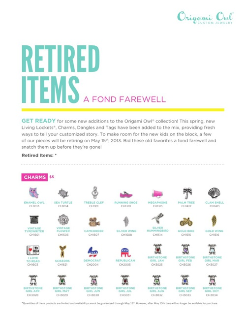 Origami Owl Retired Items