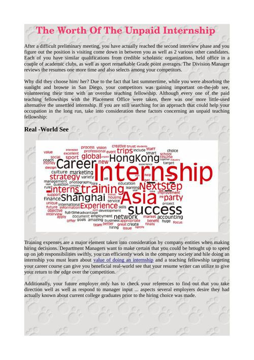 The Worth Of The Unpaid Internship