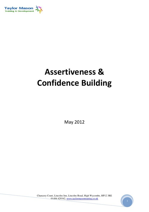Assertiveness and Confidence Building