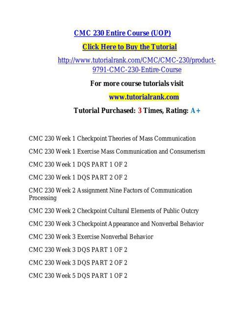 CMC 230 learning consultant / tutorialrank.com