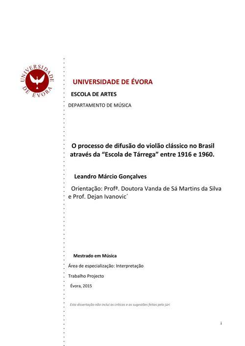 O PROCESSO DE DIFUSÃO DO VIOLÃO CLÁSSICO NO BRASIL