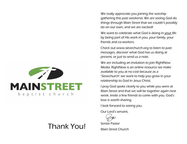 Thanks for Joining us at MainStreet
