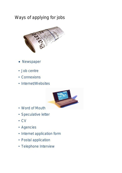Ways of applying for jobs