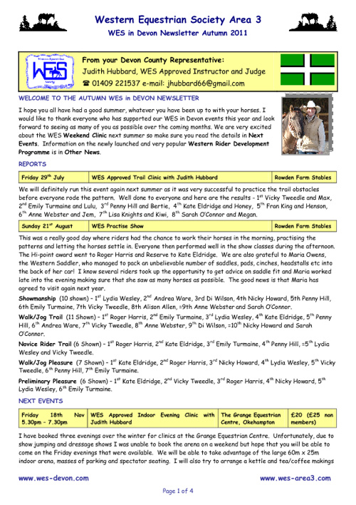 WES in Devon Autumn 2011 Newsletter