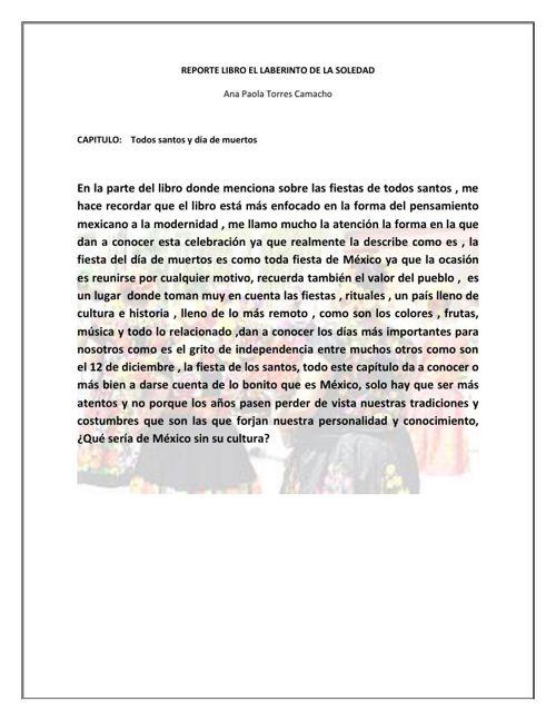 REPORTE LIBRO EL LABERINTO DE LA SOLEDAD 2