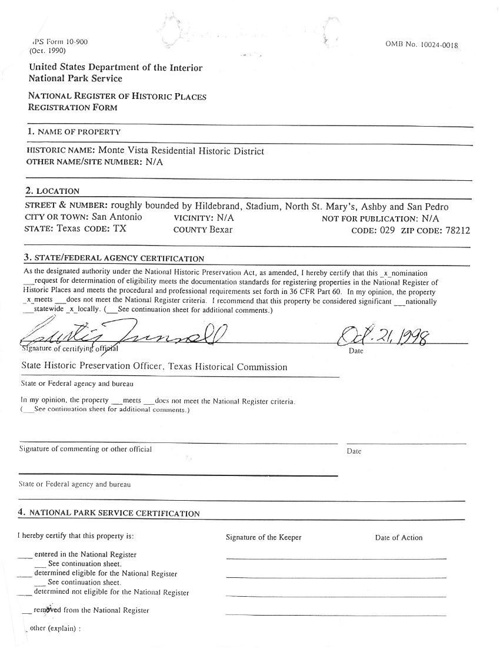 National Register for Monte Vista Historic District