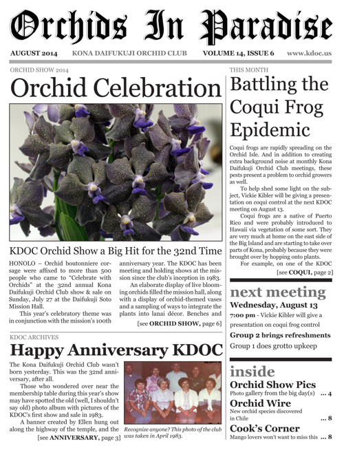 Orchids In Paradise, Vol. 14, Issue 6 (August 2014)