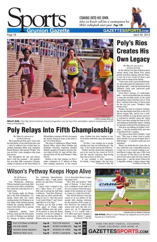 Gazette Sports   April 30, 2015