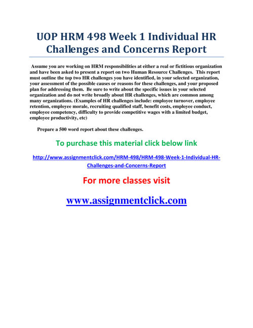 UOP HRM 498 Week 1 Individual HR Challenges and Concerns Report