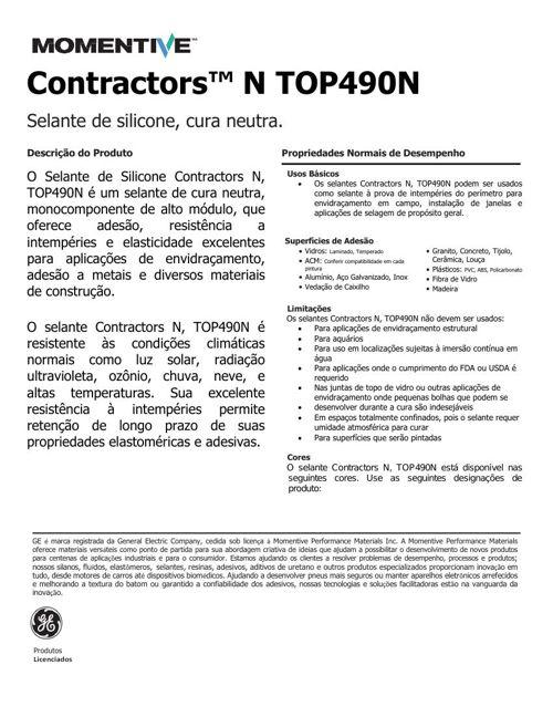 GE Silicones- Ficha Técnica TOP490N