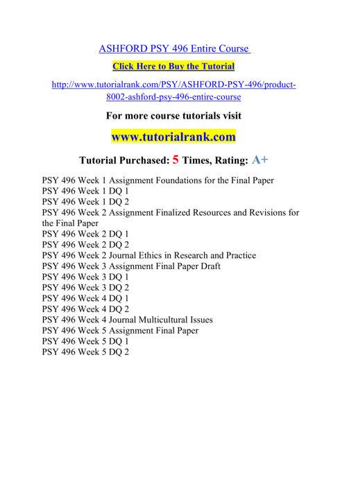 PSY 496 Course Career Path Begins / tutorialrank.com