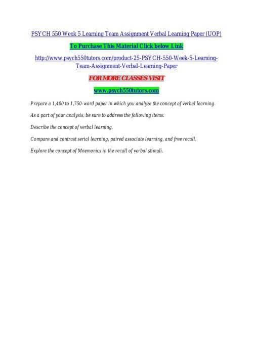 PSYCH 550 Week 5 Learning Team Assignment Verbal Learning Paper
