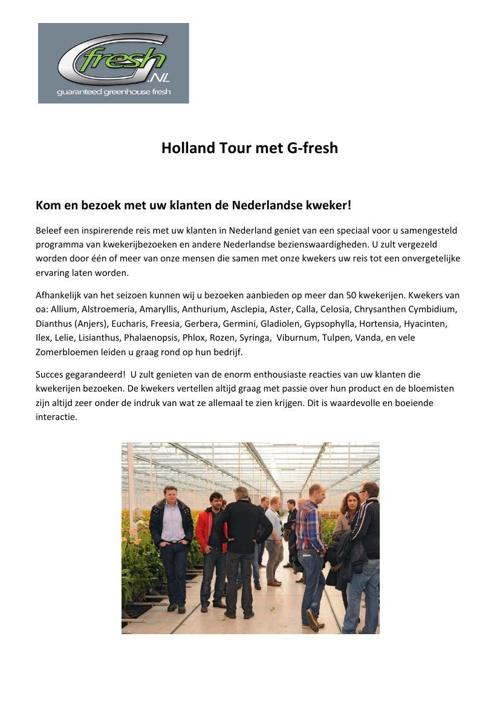 Holland Tour met G-Fresh