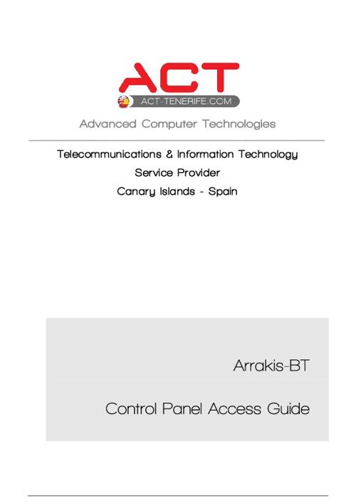 Arrakis-BT Control Panel Access Guide