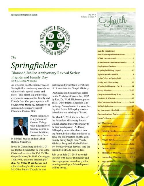 The Springfielder - July Issue - Volume 1, Issue 7