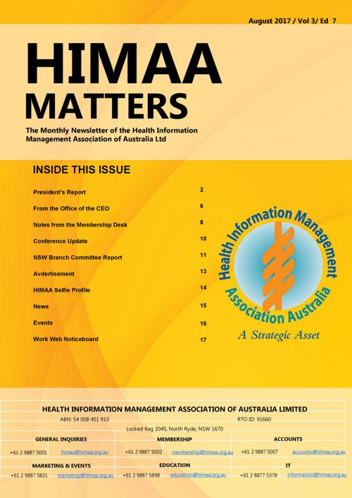 HIMAA Matters Vol 3 , Ed 7 - AUGUST 2017