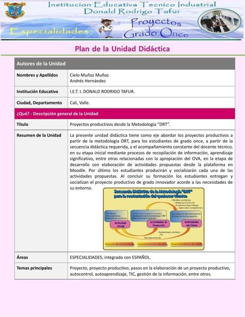 Unidad Didactica para docentes tecnicos - Modelo DRT