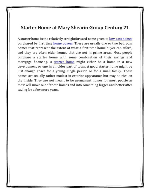 Starter Home at Mary Shearin Group Century 21