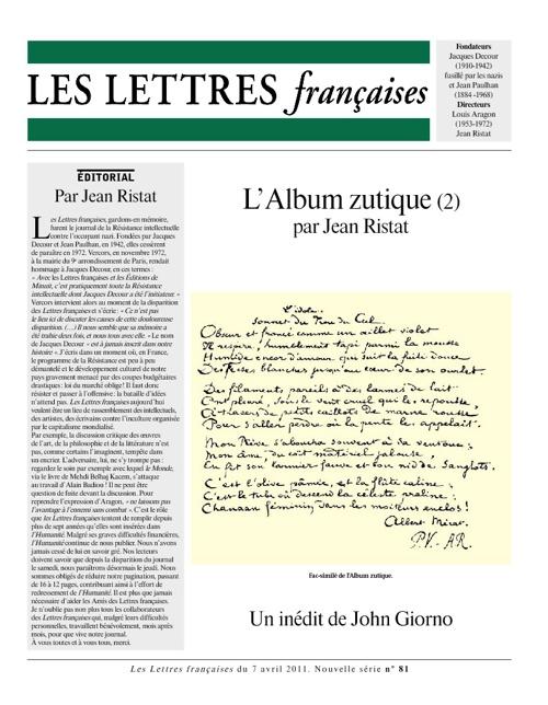 Les Lettres Françaises, nº 80, Avril-2011