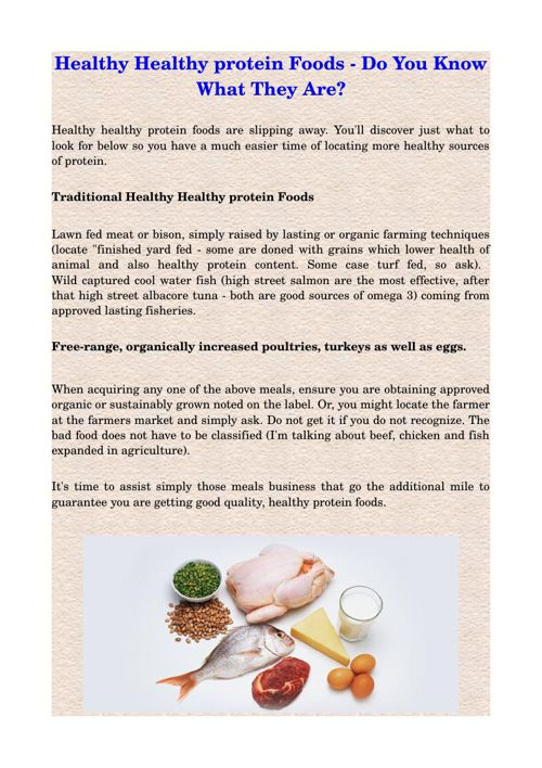 Healthy Healthy protein Foods - Do You Know What They Are?