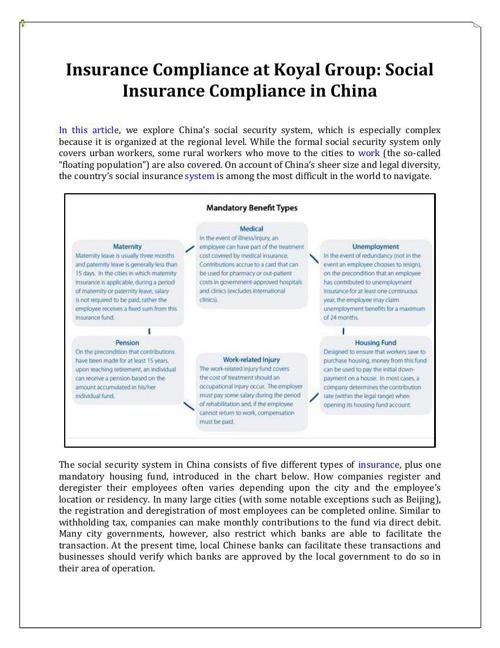 Social Insurance Compliance in China, Koyal Group