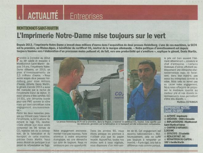 Copy of La presse en parle ! Imprimerie Notre Dame